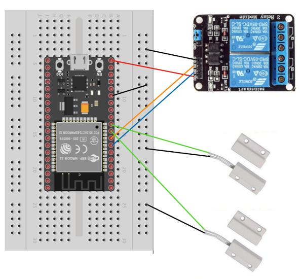 ESP32 - Relay - Sensor schematics